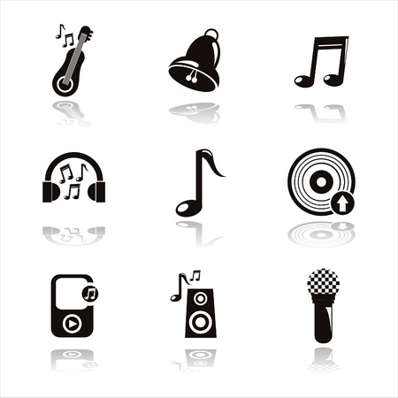 set of 9 black musical icons Vector