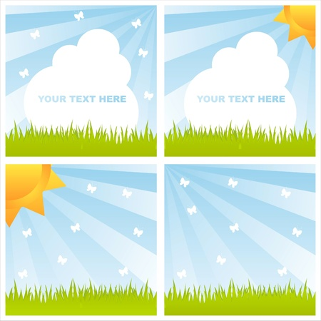 set of 4 shiny summer landscapes Vector