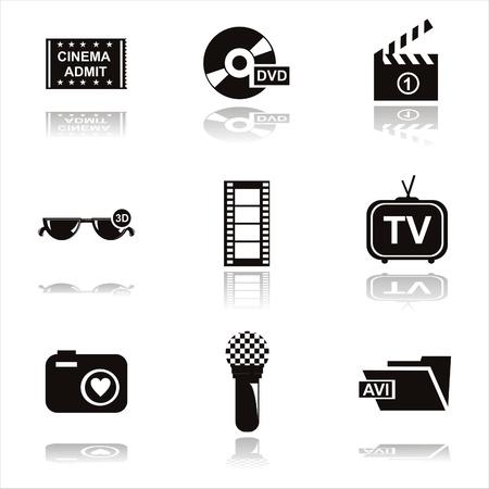 set of 9 black cinema icons Vector