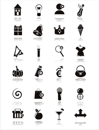set of 21 black web icons Vector