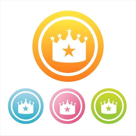 couronne princesse: ensemble de 4 signes couronne color�e Illustration