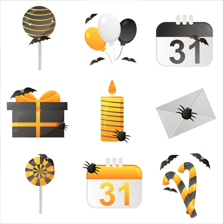 set of 9 halloween icons Vector