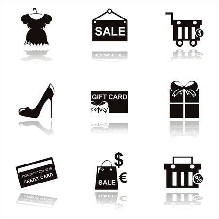 shoe sale: conjunto de nueve iconos de compras negro