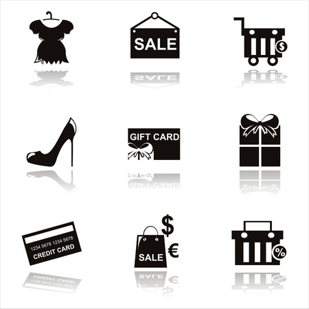 set of 9 black shopping icons Stock Vector - 10797356