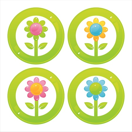 set of 4 colorful flowers buttons Stock Vector - 10825498