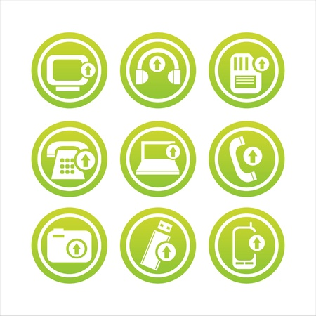 set of 9 green technology with arrows signs Vector