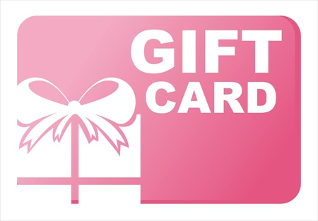 pink gift card isolated on white