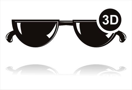 black 3D glasses icon Vector