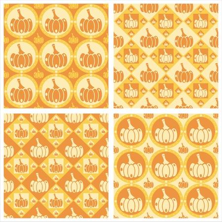 set of 4 cute pumpkins patterns Vector