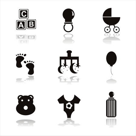 set of 9 black children icons Stock Vector - 10866593