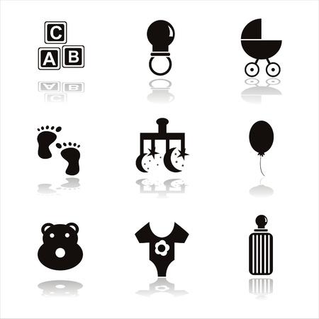 set of 9 black children icons Vector