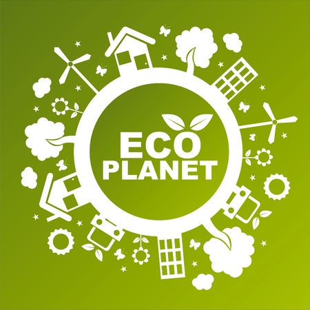 ecological planet over green background Stock Vector - 10964449