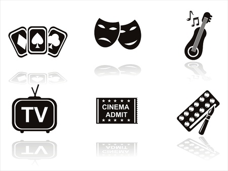 set of 6 black entertainment icons Stock Vector - 10964390