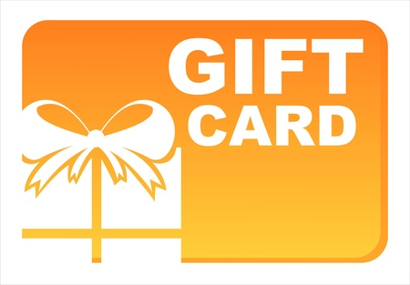 orange gift card isolated on white Illustration