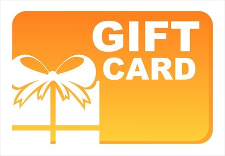voucher:  orange gift card isolated on white Illustration