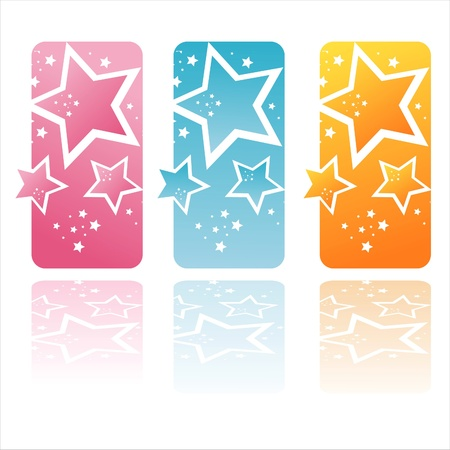 set of 3 colorful stars banners