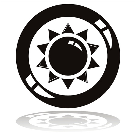 black sun button isolated on white Vector