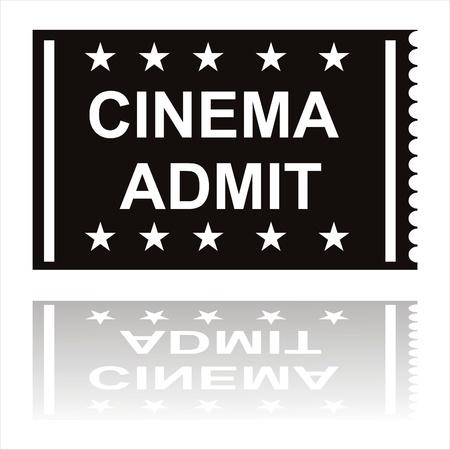 admit: black cinema admit icon Illustration