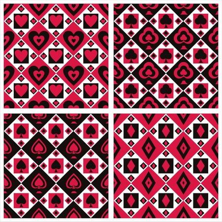 set of 4 cute casino patterns Vector