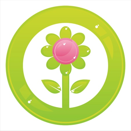 colorful flower button isolated on white Stock Vector - 11020862