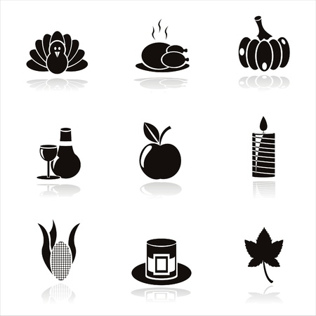set of 9 black thanksgiving day icons Vector