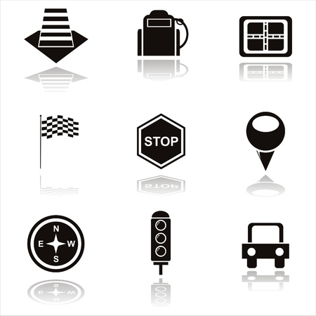 set of 9 black traffic icons Vector