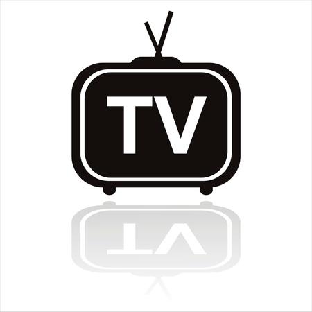 icono de la televisión negro aislado en blanco