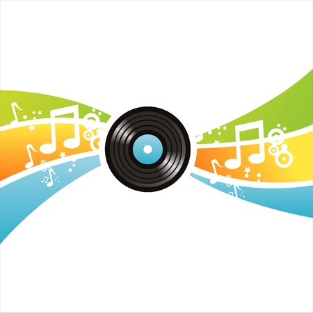 colorful musical vinyl record background Vector