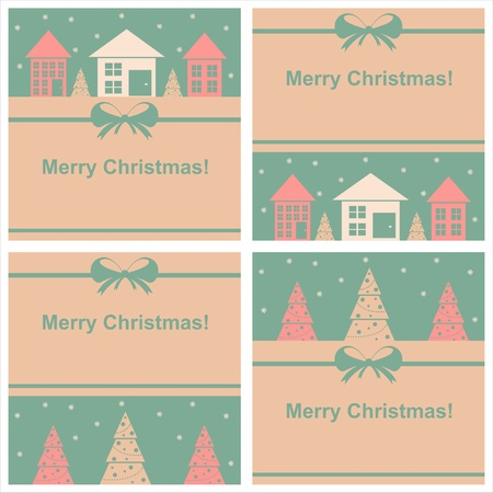 set of 4 cute christmas cards Vector