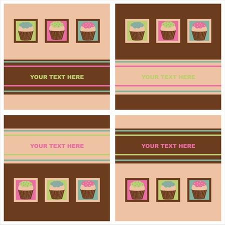 set of 4 cute colorful cakes cards Stock Vector - 11097849
