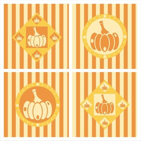 set of 4 cute pumpkins backgrounds Vector