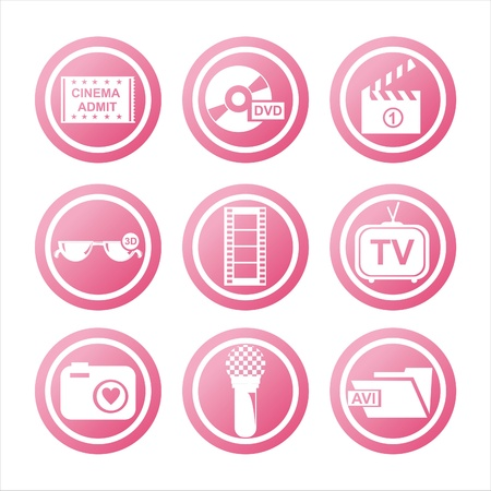 set of 9 pink cinema signs Vector