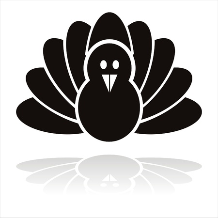 black turkey bird icon Illustration