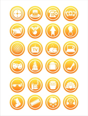 set of 21 orange web signs Stock Vector - 11149273