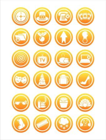 set of 21 orange web signs Stock Vector - 11149273