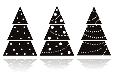 set of 3 black christmas trees Vector