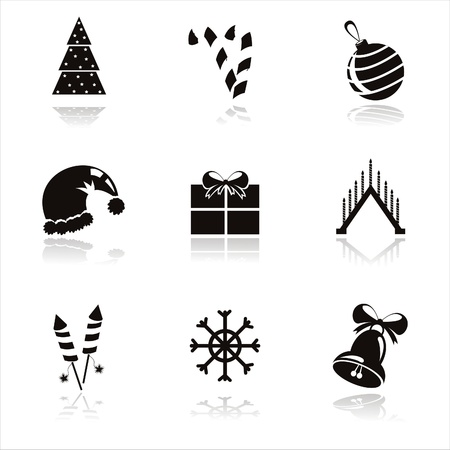 set of 9 black christmas icons Vector