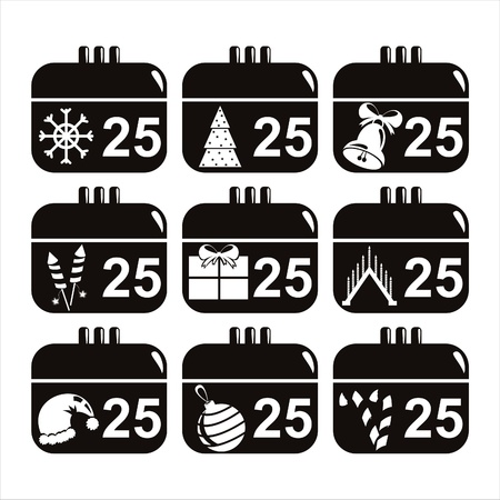 set of 9 black christmas calendar icons Vector