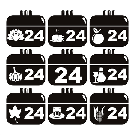 set of 9 black thanksgiving day calendar icons Stock Vector - 11251910