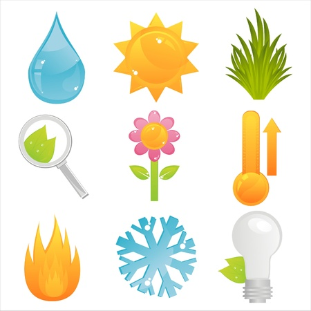 set of 9 colorful nature icons Stock Vector - 11251935
