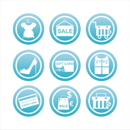set of 9 blue shopping signs Vector