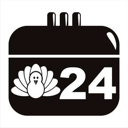 black thanksgiving day calendar icon Vector
