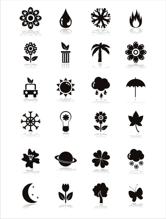 set of 21 black nature icons Vector