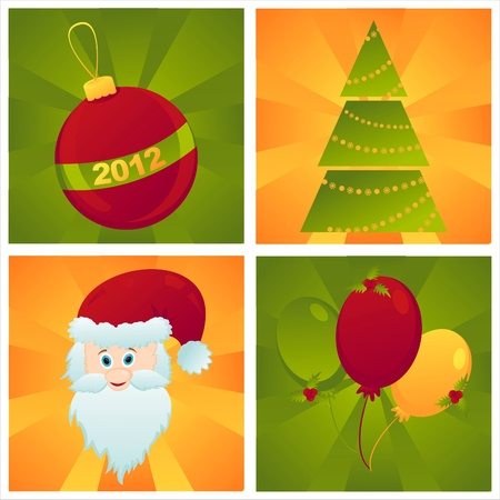 set of 4 colorful christmas backgrounds Vector