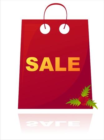 red christmas sale bag Vector