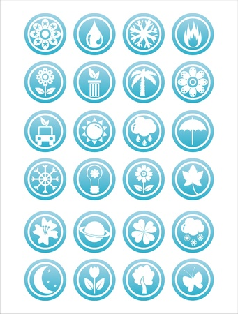 set of 21 blue nature signs Stock Vector - 11344978