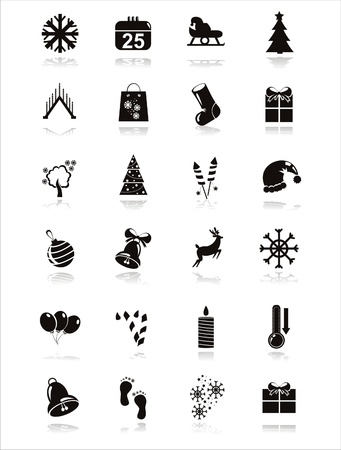 set of 21 black christmas icons Vector