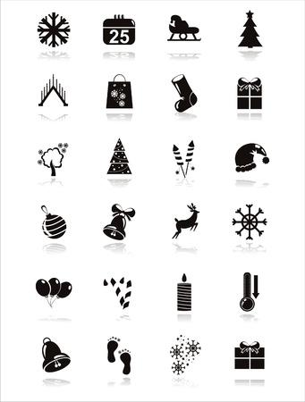 set of 21 black christmas icons Stock Vector - 11345006