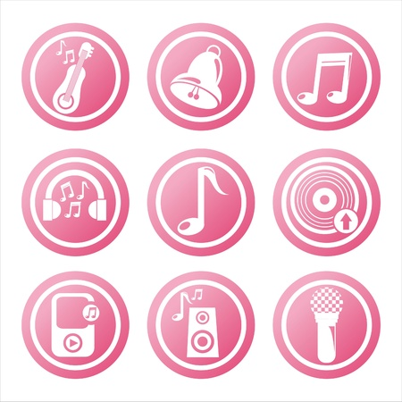 set of 9 pink musical tools signs Vector