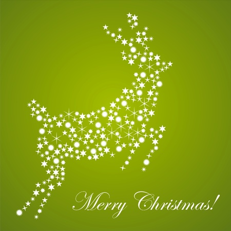 christmas deer made of stars over green background Vector